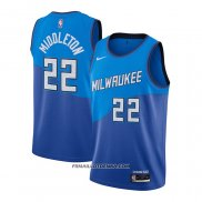 Maillot Milwaukee Bucks Khris Middleton Ville 2020-21 Bleu