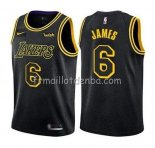 Maillot Los Angeles Lakers Lebron James Ciudad 2019 Noir