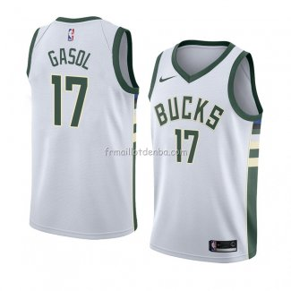 Maillot Milwaukee Bucks Bucks Pau Gasol Association 2018 Blanc