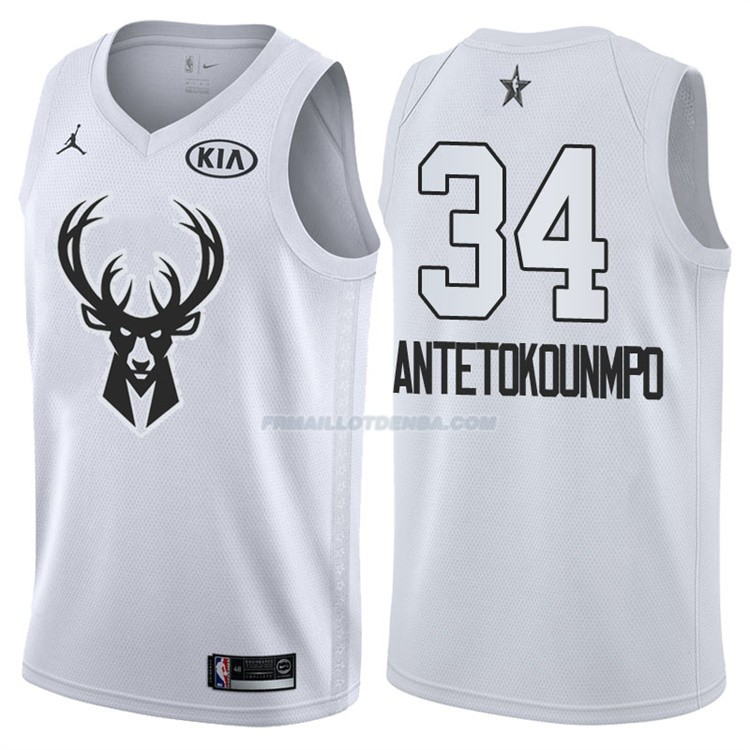 Maillot All Star 2018 Milwaukee Bucks Giannis Antetokounmpo 34 Blanc