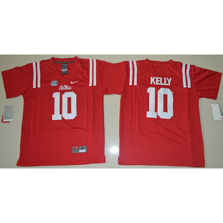 Maillot Enfants NCAA Chad Kelly 10 Rouge