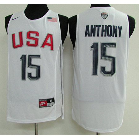 Maillot Basket USA Dream Teams Anthony 15 Blanc