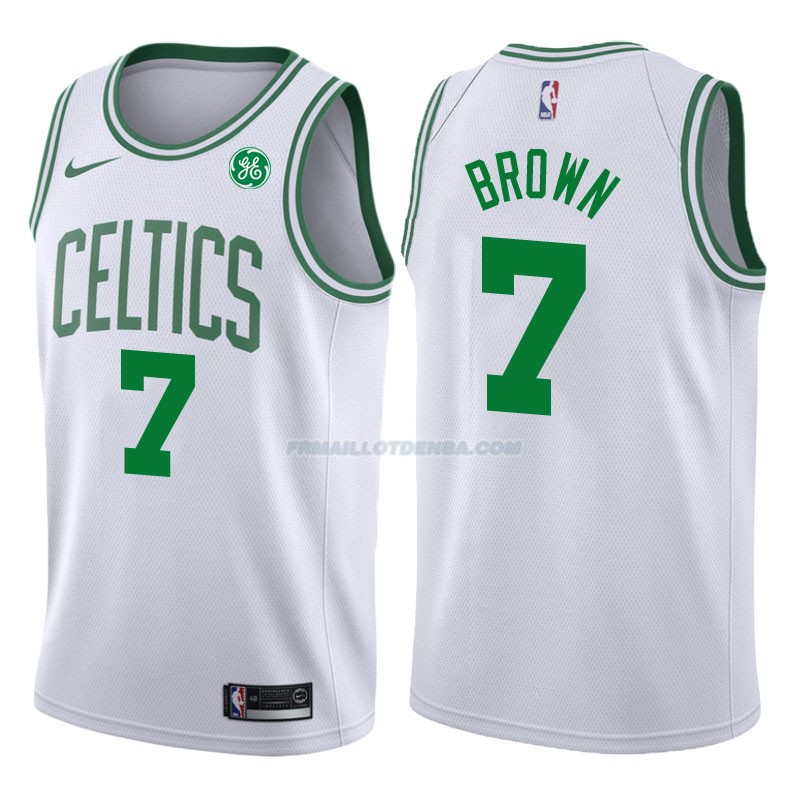 Maillot Authentique Boston Celtics Brown 2017-18 7 Blanc