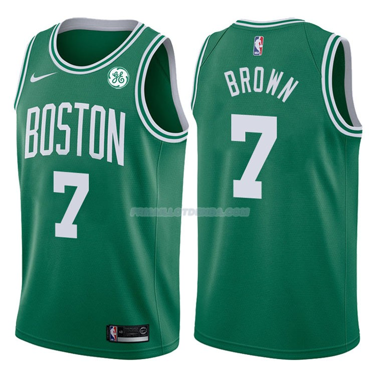 Maillot Authentique Boston Celtics Brown 2017-18 7 Vert
