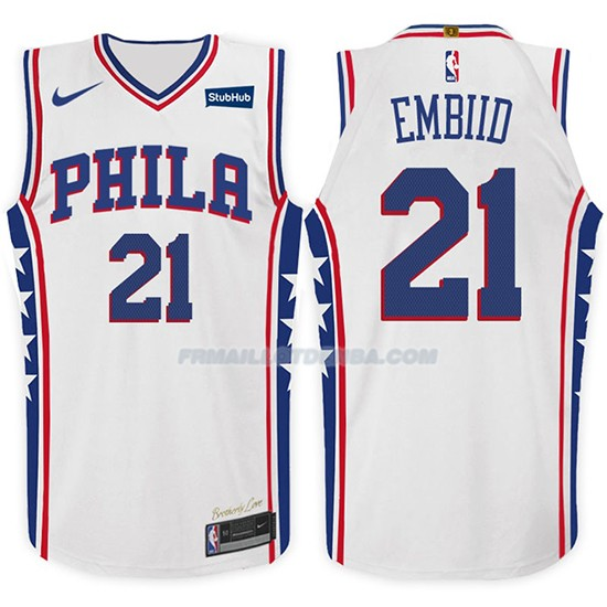 Maillot Basket 76ers Joel Embiid 2017-18 21 Blanc