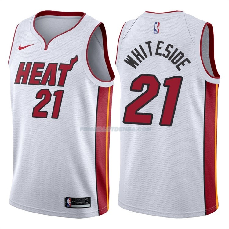 Maillot Basket Authentique Miami Heat Whiteside 2017-18 21 Blanc