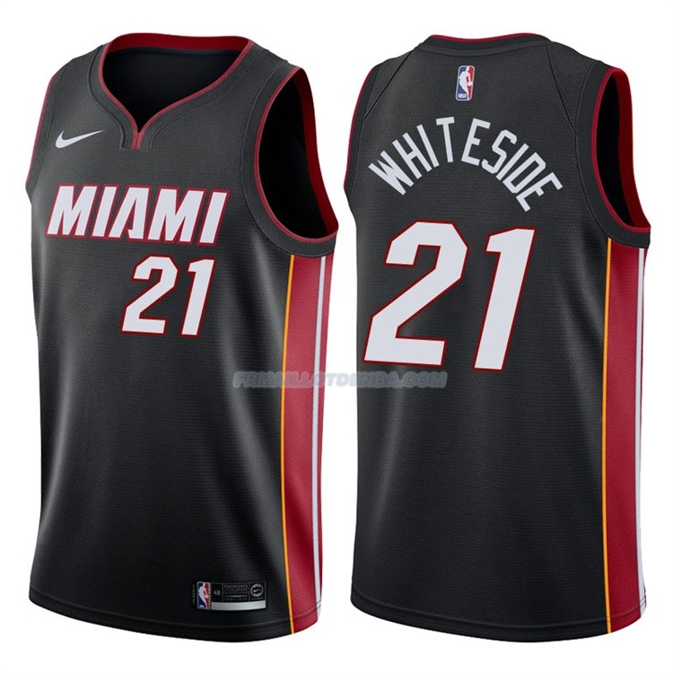 Maillot Basket Authentique Miami Heat Whiteside 2017-18 21 Noir