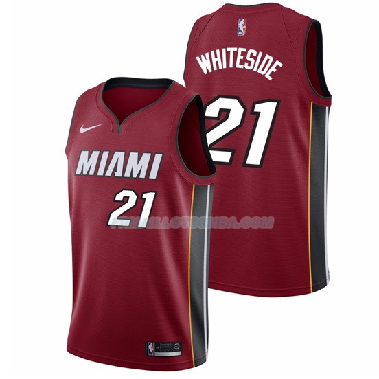 Maillot Basket Authentique Miami Heat Whiteside 2017-18 21 Rouge