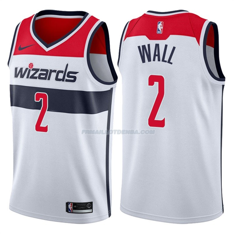 Maillot Basket Authentique Washington Wizards Wall 2017-18 2 Blanc