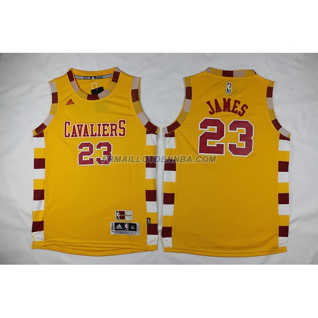 Enfants Maillot Basket Cavaliers James 23 Jaune 2016