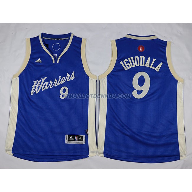 Enfants Maillot Basket Warriors Iguodala 9 Bleu 2016