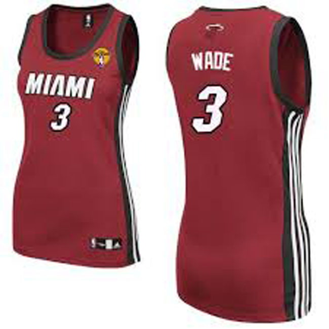 Femmes Maillot Basket Miami Heat Wade 3 Rouge 2016