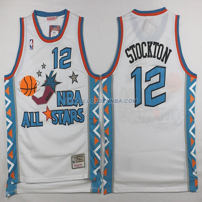 Maillot Basket All Star Stockton 12 Blanc 1996