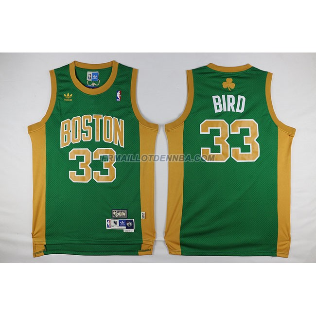 Maillot Basket Boston Celtics Bird 33 Jaune Vert 2016