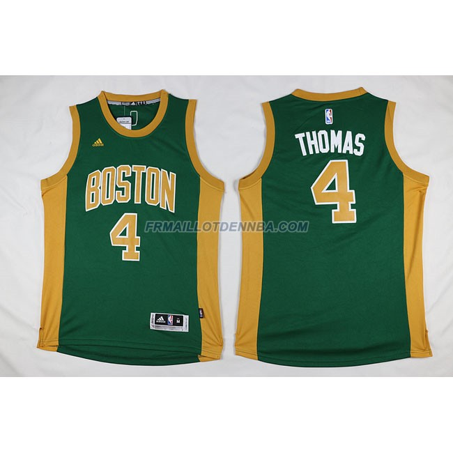 Maillot Basket Boston Celtics Thomas 4 Jaune Vert 2016