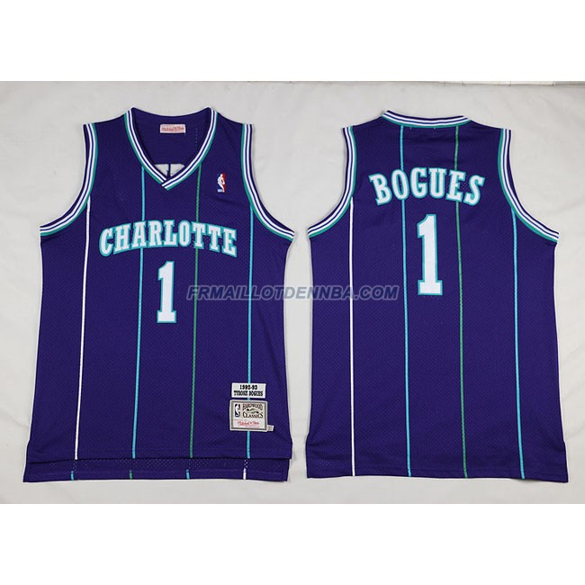 Maillot Basket Charlotte HorBrooklyn Nets Bogues 1 Pourpre 2016