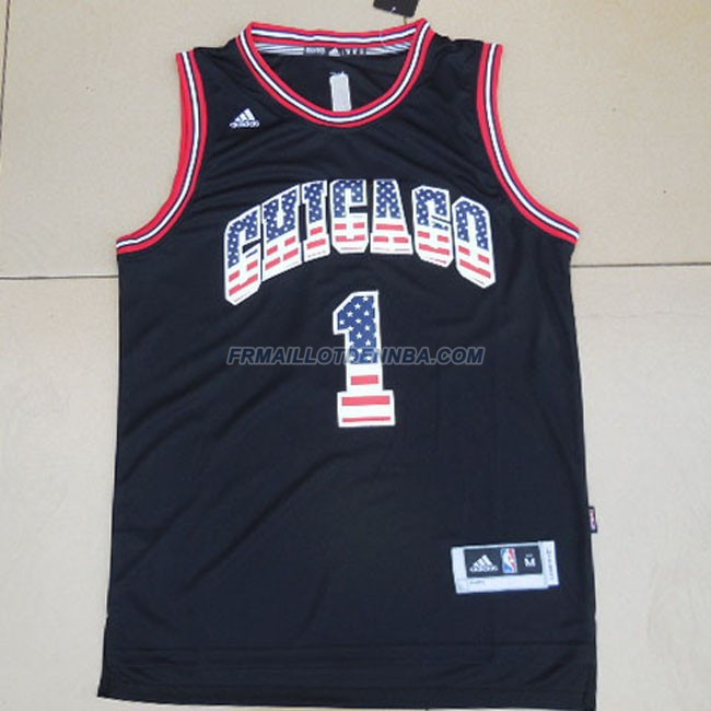 Maillot Basket Chicago Bulls Rose 1 Noir 2014
