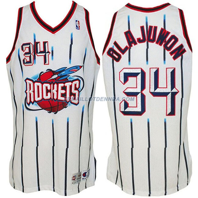 Maillot Basket Houston Rockets Olajuwon 34 Blanc 2016