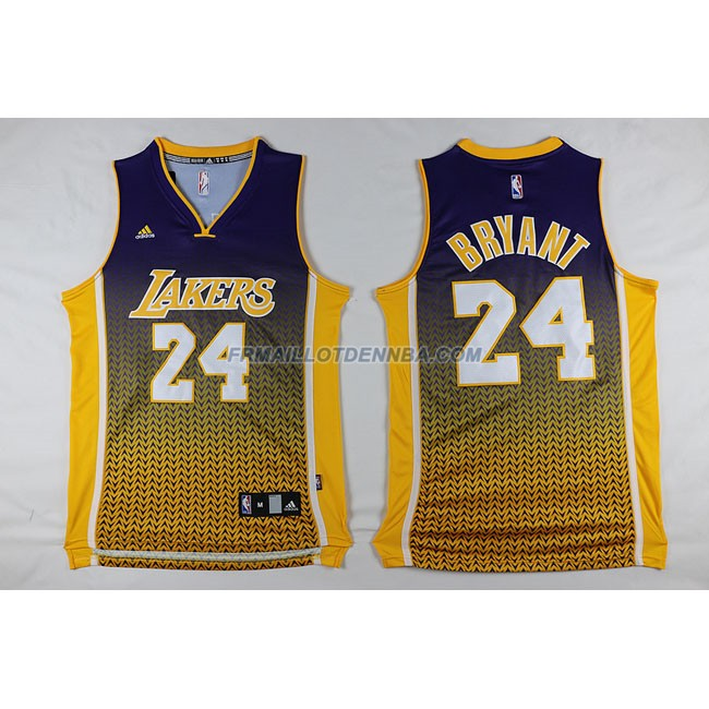 Maillot Basket Los Angeles Lakers Bryant 24 Bleu Jaune 2016