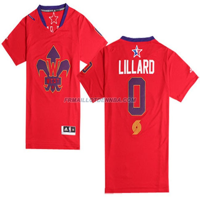 Maillot Basket Manche Courte All Star Lillard 0 Rouge 2014