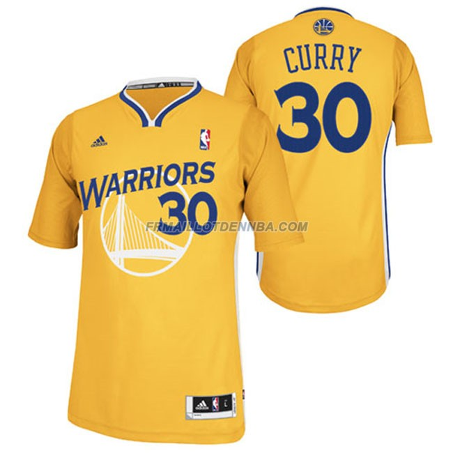 Maillot Basket Manche Courte Warriors Curry 30 Jaune 2015