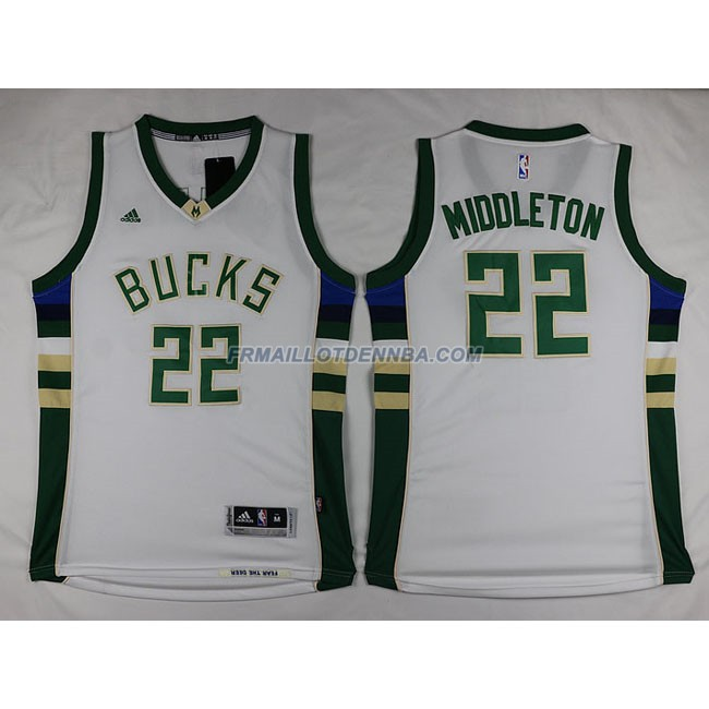 Maillot Basket Milwaukee Bucks Retro Middleton 22 Blanc 2016
