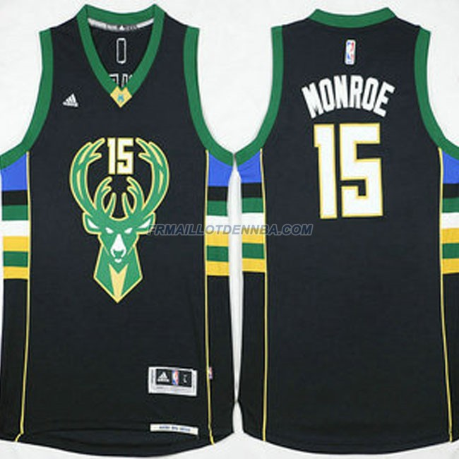 Maillot Basket Milwaukee Bucks Retro Monroe 15 Noir 2016