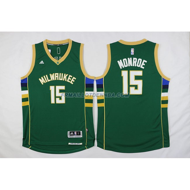 Maillot Basket Milwaukee Bucks Retro Monroe 15 Vert 2016