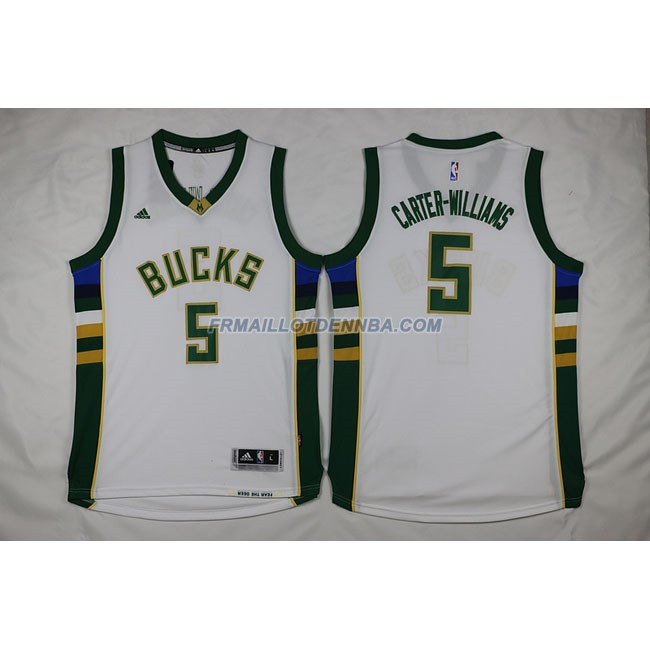 Maillot Basket Milwaukee Bucks Retro Williams 5 Blanc 2016