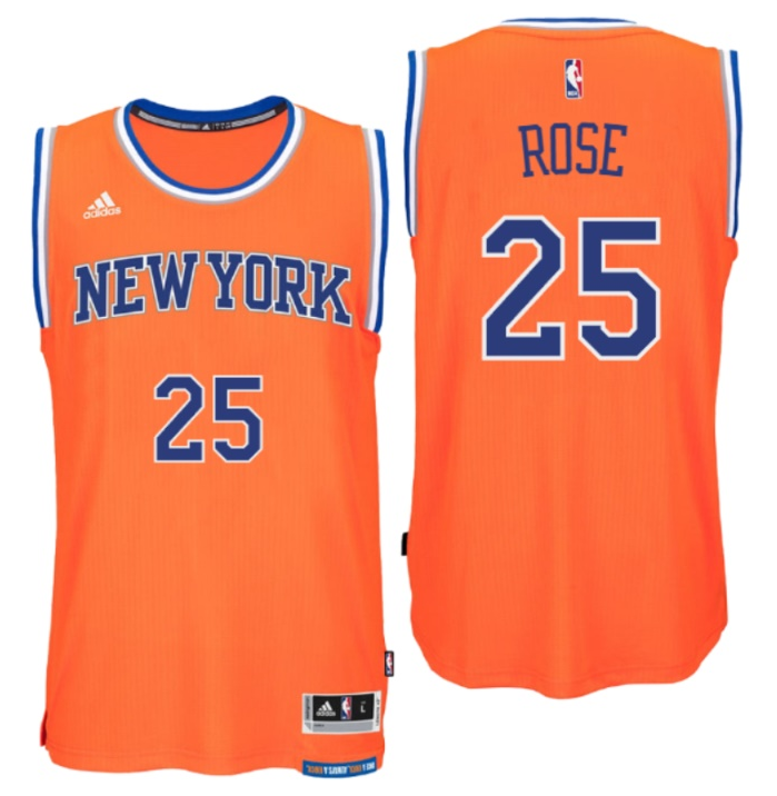 Maillot Basket New York Knicks Rose 25 Orange 2016