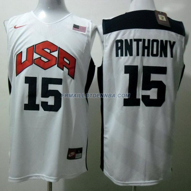 Maillot Basket USA Anthony 15 Blanc 2012
