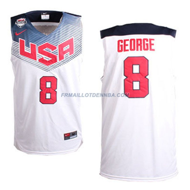 Maillot Basket USA George 8 Blanc 2014