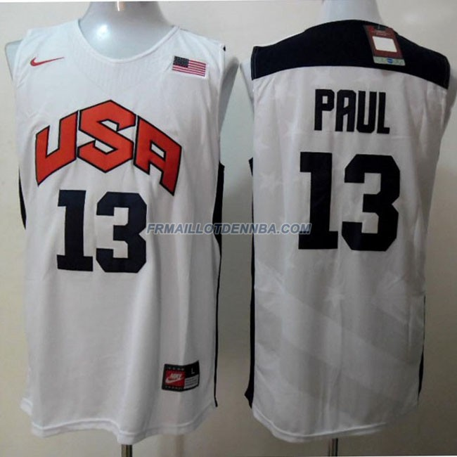 Maillot Basket USA Paul 13 Blanc 2012