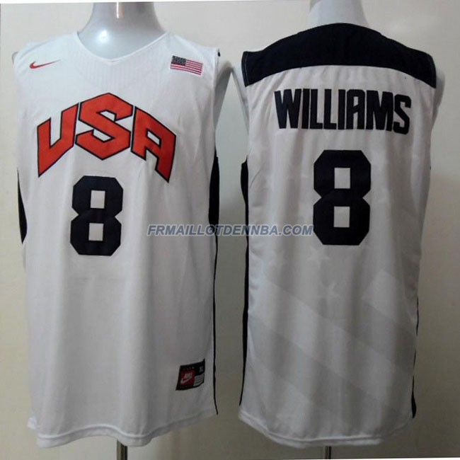 Maillot Basket USA Williams 8 Blanc 2012