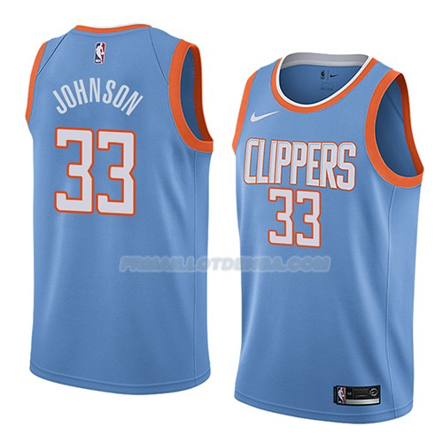 Maillot Los Angeles Clippers Wesley Johnson Ciudad 2018 Bleu
