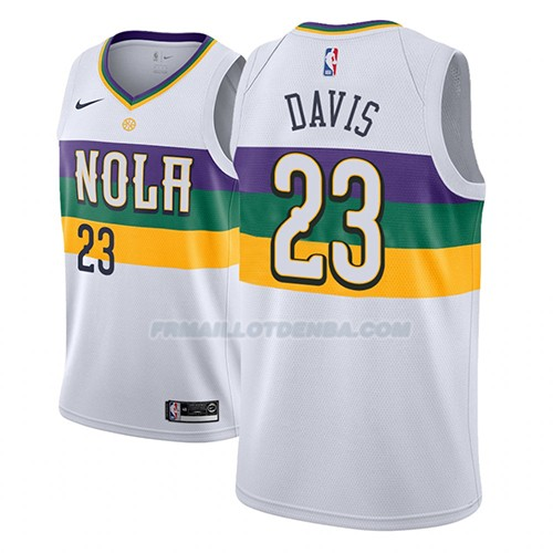 Maillot New Orleans Pelicans Anthony Davis Ciudad 2018-19 Blanc