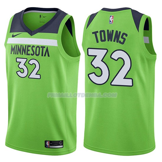 Maillot Basket Minnesota Timberwolves Karl-anthony Towns Statement 2017-18 32 Vert