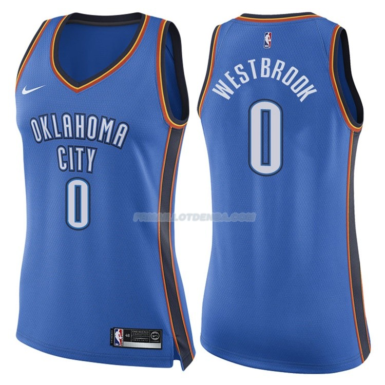 Femmes Maillot Oklahoma City Thunder Russell Westbrook Icon 2017-18 0 Bleu