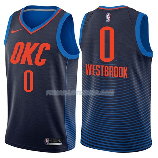 Maillot Basket Oklahoma City Thunder Russell Westbrook Statement 2017-18 0 Bleu