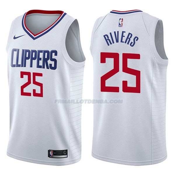 Maillot Los Angeles Clippers Austin Rivers Association 2017-18 25 Blancoo