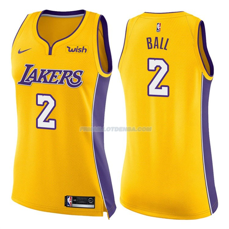 Femmes Maillot Los Angeles Lakers Lonzo Ball Icon 2017-18 2 Jaune
