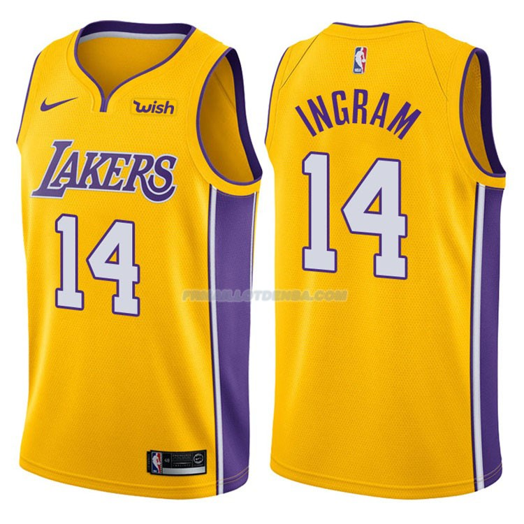 Maillot Basket Authentique Los Angeles Lakers Ingram 2017-18 14 Jaune