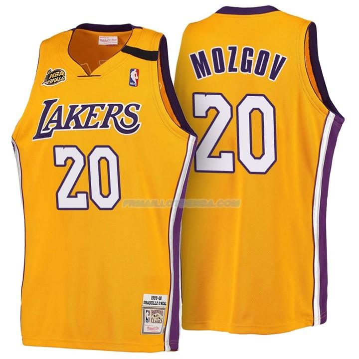 Maillot Basket Retro 1999-00 Los Angeles Lakers Mozgov 20 Amarillo