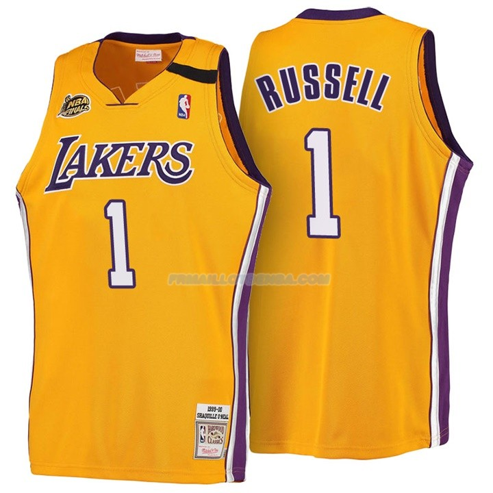 Maillot Basket Retro 1999-00 Los Angeles Lakers Russell 1 Amarillo