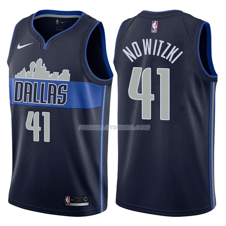 Maillot Dallas Mavericks Dirk Nowitzki Statement 2017-18 41 Bleu