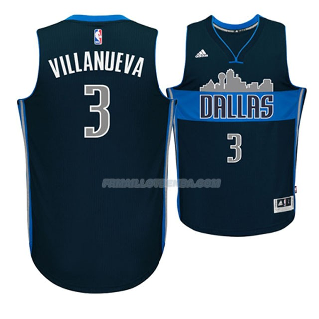 Maillot Basket Dallas Mavericks Villanueva 3 Azul