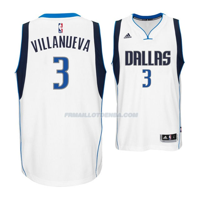 Maillot Basket Dallas Mavericks Villanueva 3 Blanco
