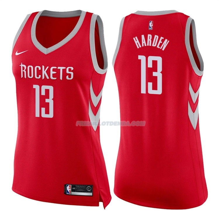 Femmes Maillot Houston Rockets James Harden Icon 2017-18 13 Rouge