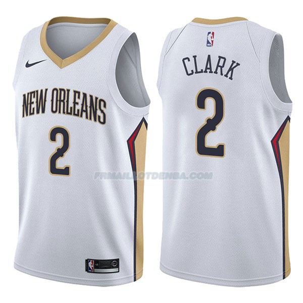 Maillot New Orleans Pelicans Ian Clark Association 2017-18 2 Blancoo