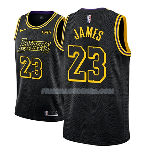 Maillot Enfant Los Angeles Lakers Lebron James Ciudad 2017-18 Noir